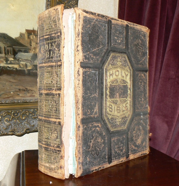 Antique 1870 Bible New Devotional Pictorial Family Holy Bible