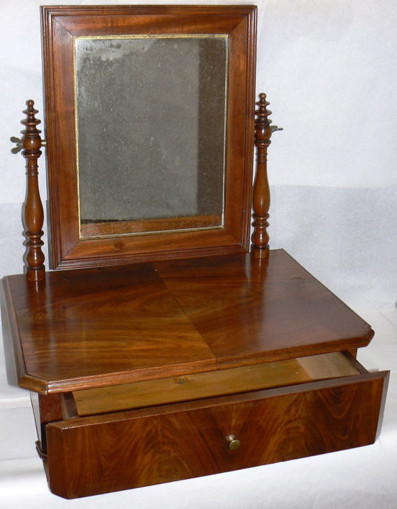 1840s French Louis Philippe Gentlemans Shaving Dressing Mirror and jewelry Storage Valet