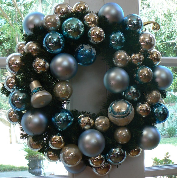 ON RESERVE for Marsha Icy Blue and Shiny Brite Vintage Christmas Ornament Wreath
