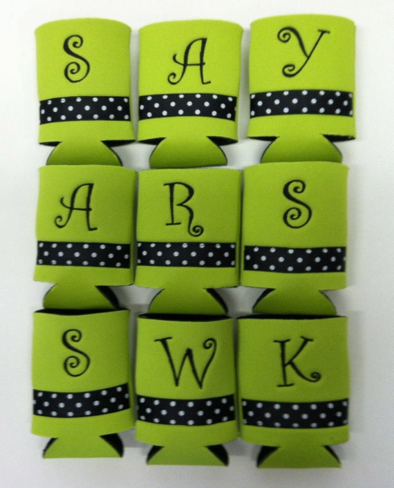 SALE Custom Embroidered Coozies (Set of 10) One Initial Monograms