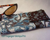 Blue and Brown   Eyeglass Sunglass Case with Velcro Closure, Camera, Gadget Case