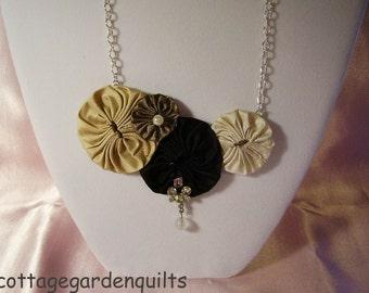 Black - Taupe Dupioni Silk Yo Yo Bib Fabric Necklace   Antique Jewelry