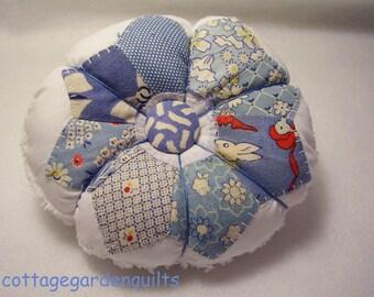 Blue Vintage Feedsack  Pincushion Sewing Notion
