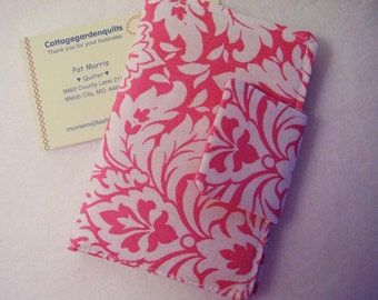Pink Damask Rewards Card /  Business / Credit  Card / Debit  Mini Case Holder with Velcro  Closure