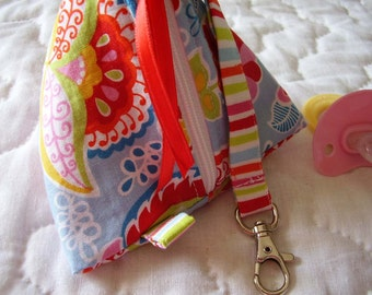 Blue Paisley  Pacifier/Small Bag/ Zippered/Triangle/Pyramid/ Pouch/ Phone Pod/Purse/Coin Purse/Gift Bag/ Wristlet