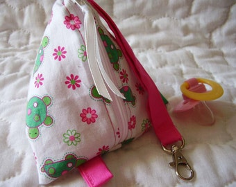 Cute Turtle  Baby Pacifier/Small Bag/ Zippered/Triangle/Pyramid/ Pouch/ Phone Pod/Purse/Coin Purse/Gift Bag/ Wristlet