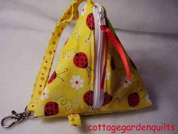 Lady Bug Small Zippered Triangle Pouch, Wristet, Purse, Phone Pod, Coin Purse, Baby
