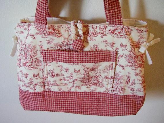 Red Toile   'Bow Tucks'  Purse Bag