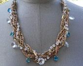 Aqua Blue Bridal Rhinestone Necklace Twisted Gold Chains Adjustable Necklace - Twisted Twinkle Necklace
