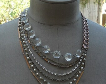 Layered Chains Necklace Copper Crystal Asymmetrical Statement Necklace - Sideshow Sally Necklace