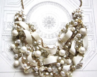 Chunky Bridal Pearl Vintage Wedding Bib Statement Necklace Ribbon & Pearl Gold Vintage Flower Brooch - Pearls, Pearls, Pearls Necklace