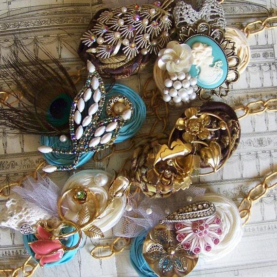 Wrist Corsage Bracelets Flower Vintage Brooch Cuff Bridal Fabric Flower - Jewel Tone