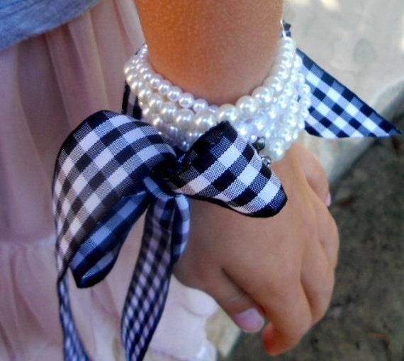 Flower Girl Bracelet, Pearl Flower Girl Bracelet, Flower Girl Black & White Ribbon Bracelet, Pearl Ribbon Bracelet for Flower Girl