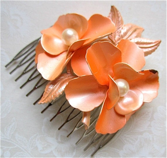 Vintage Bridal Hair Comb Big Enamel Flower Pearls Peach Orange - When Life Gives You Peaches Comb