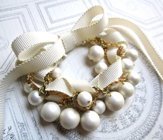 Chunky Pearl Bracelet Bridal Cuff Vintage Wedding Twisted RIbbon and Gold Bracelet - Pearls Gone Wild in Gold