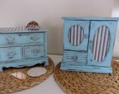 Vintage jewelry box set (his and hers) in vintage cottage chic aqua color