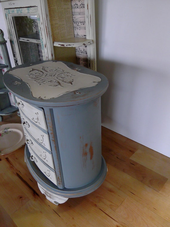 Vintage Jewelry Cabinet, Handpainted in Paris Grey and White, Shabby Chic