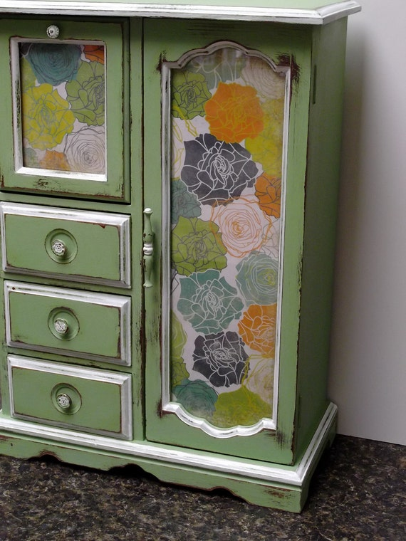 Jewelry Box in distressed Farmhouse Spring Green