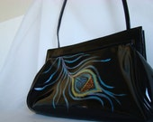 Black patent purse - Peacock feather original hand[ainted art - evening bag - OOAK bag