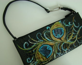 Peacock Feathers Hand painted on black leather - alligator embossed - Worthington bag