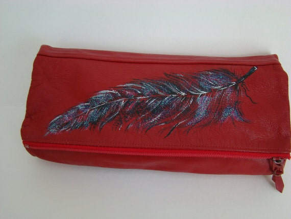Black Feather Handpainted - Red leather - fold over clutch - Vintage Contessa bag