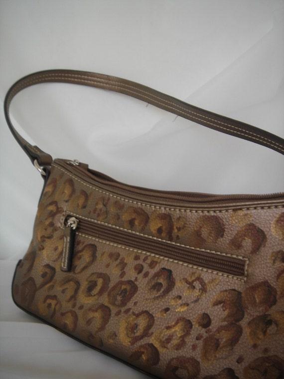 Cheetah handpainted leather purse