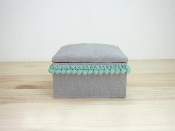 Handmade Gray Linen covered box with Teal Mini Pom Pom Trim