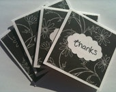 Black and White Flower Mini Thank You Cards