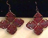 Orange and Metal Flower Earrings