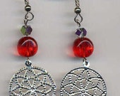 OOAK Red Bead Mandala Earrings