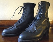 SALE  25 Percent off  Now 48.75 Steampunk Vibram 8 Hole and Hook Lace Up Boots