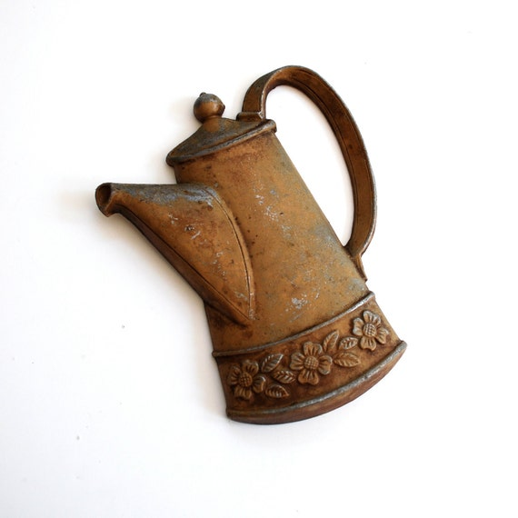 vintage cup of joe - coffee pot wall hanging metal art