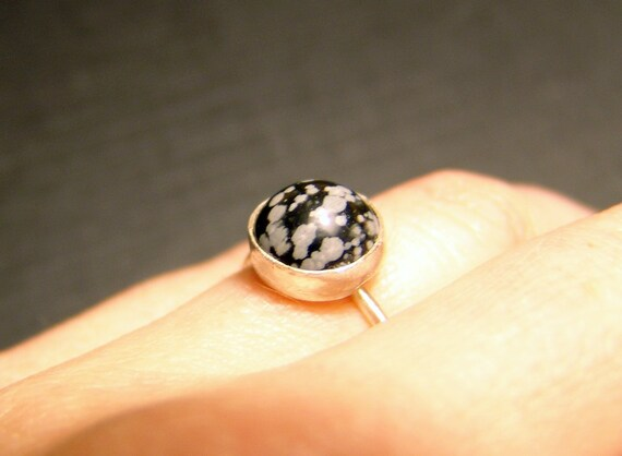 Sterling Silver Snowflake Obsidian Ring - Made to Order