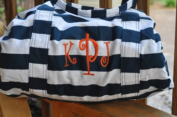 Nautical Blue Striped Tote Bag with Free Monogramming