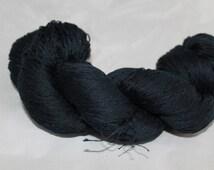 20% OFF SALE Reclaimed Yarn, Black Mercerized Cotton Yarn, Lace Weight Yarn - 600 Yards