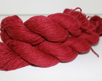 30% off STORE CLOSING SALE Red Reclaimed Linen Cotton Yarn, Sport Yarn - 281 Yards
