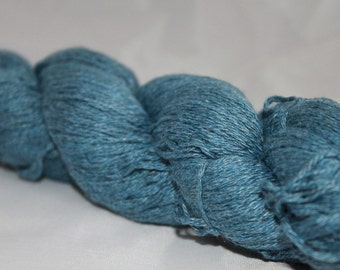 30% off STORE CLOSING SALE Upcycled Yarn, Blue Cotton Blend Yarn, Fingering Yarn - 317 Yards
