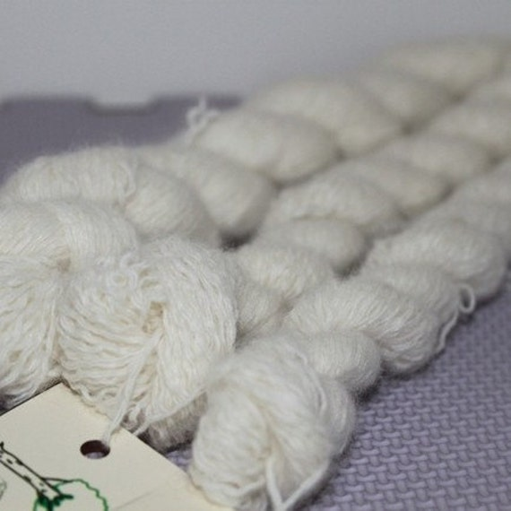 White Lambswool Angora Blend Lace Weight Recycled Yarn - 534 Yards