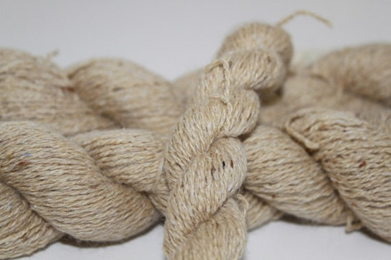 Tan Reclaimed Silk Angora Yarn, Lace Weight Yarn - 480 Yards
