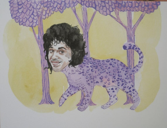 Prince as a Purple Leopard in a Purple Forest at dusk
