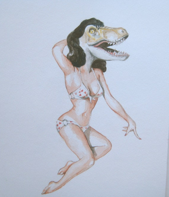 Velociraptor as a sexy pin up model