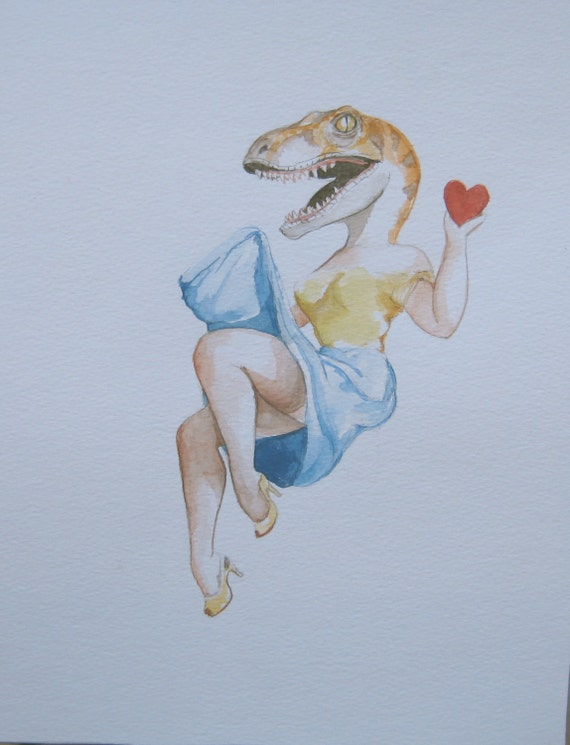 Velociraptor as a sexy pin up Holding a heart