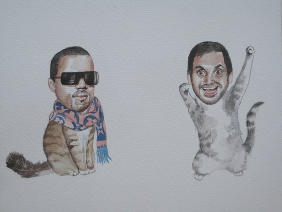 Aziz Ansari and Kanye West as best friend cats for Asy7 only!