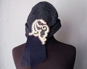 Vintage 1920s navy beaded flapper hat