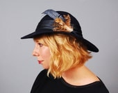 Vintage hat with feathers navy blue Lancaster wool felt