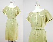 RESERVED: 1960s military-style green and yellow linen dress / large