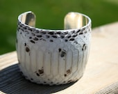 Snakeskin Cuff Bracelet Leather- Natural White