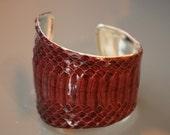 Signature Asymmetrical Cuff -- Genuine Snakeskin -- Deep Cranberry