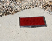 Leather Snakeskin Card Case - Red
