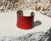 ON SALE- Leather Cuff Bracelet - Bright Red Snakeskin